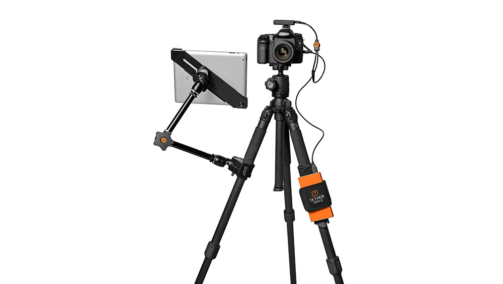 A tablet in an AeroTab mounted to a tripod