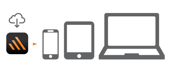 Case Remote app icon, phone, tablet, and laptop. Illustration