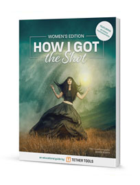 A rendering of a book with How I Got the Shot Women's Edition on the cover