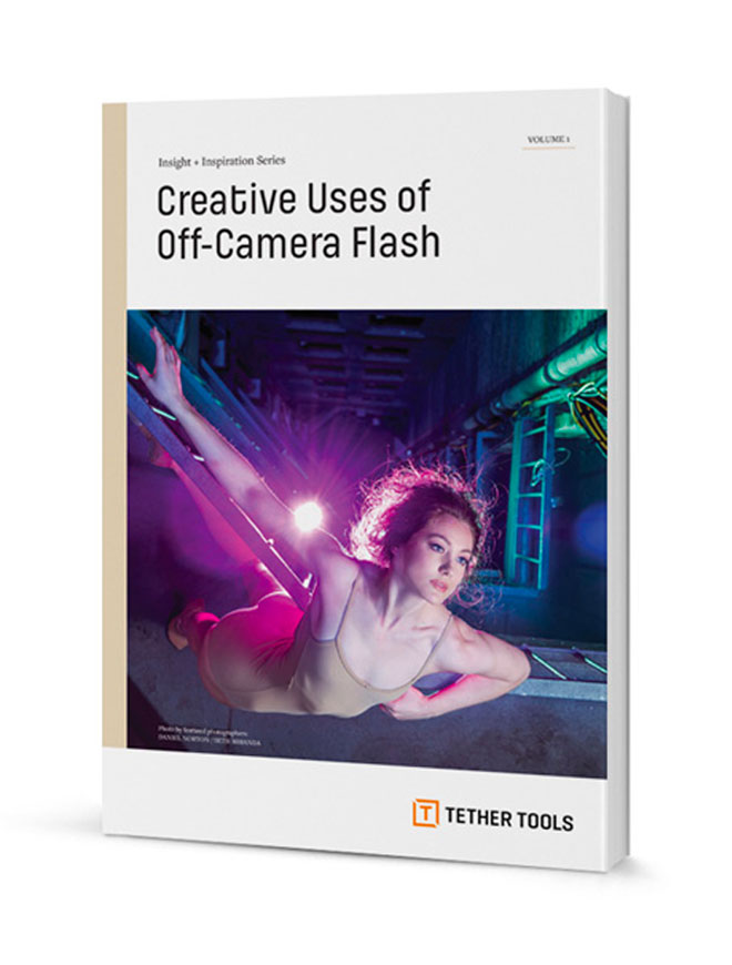A book with a title that reads: Creative Uses of Off-Camera Flash