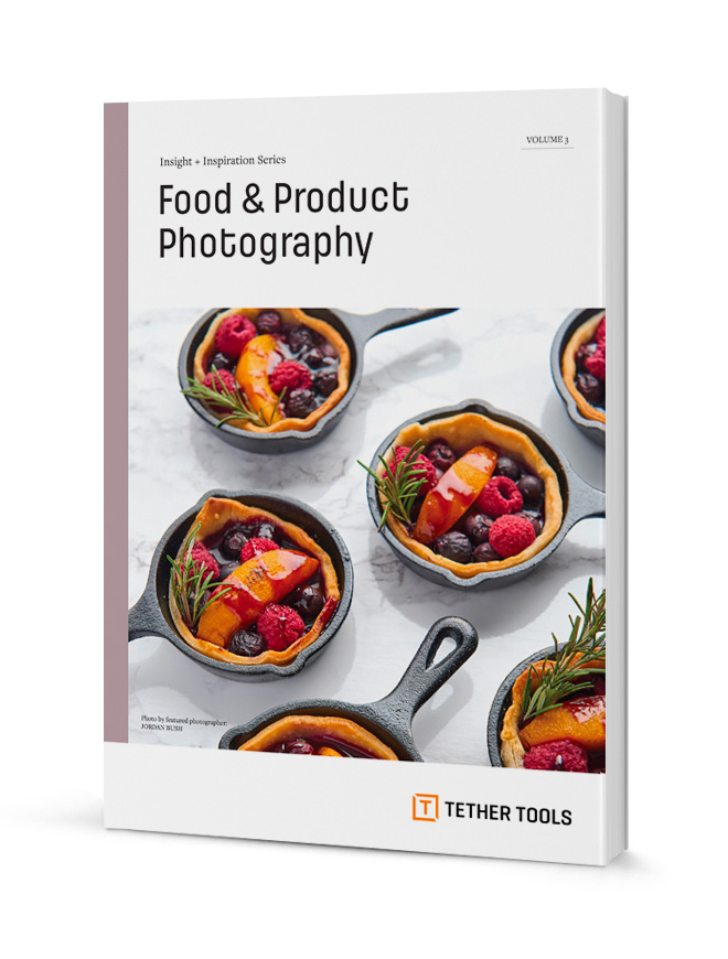 A book with a title that reads: Food & Product Photography